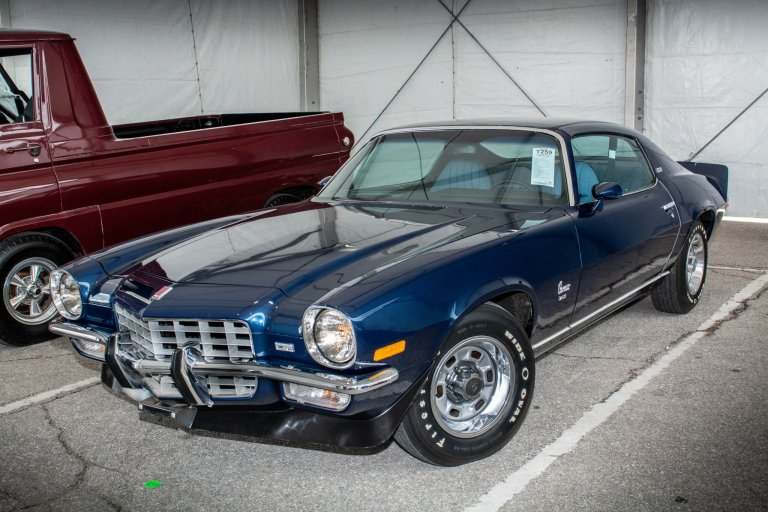 One Boss Ride: Cruising the Corporate Ladder in a Midnight Blue 1973 Camaro