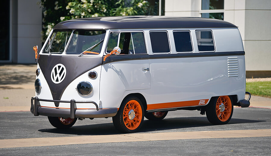 This 1962 Volkswagen Type 2 was overhauled by the brand to be modern microbus, showing emerging technology.