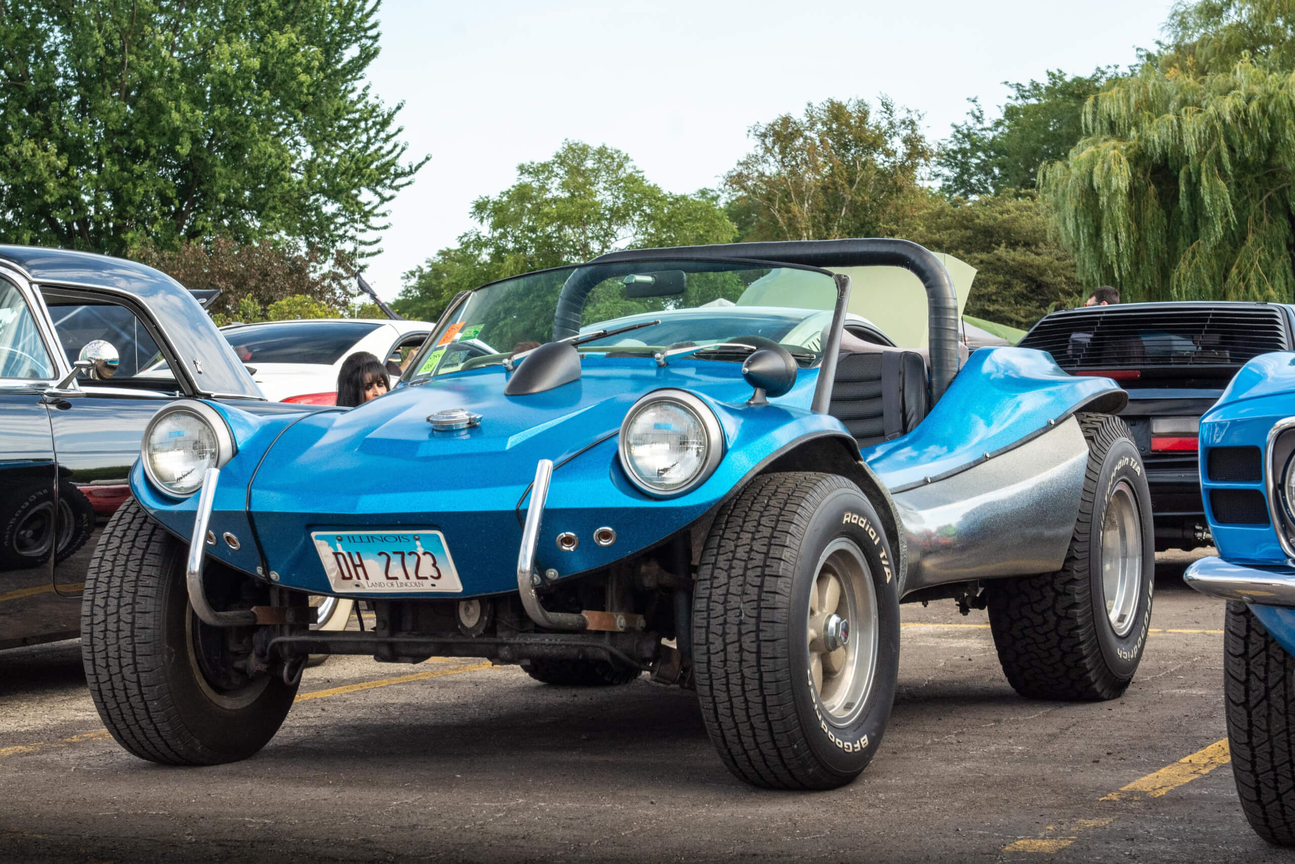 This dune buggy is on a 1966 VW Beetle chassis and uses a Bounty Hunter fiberglass body.