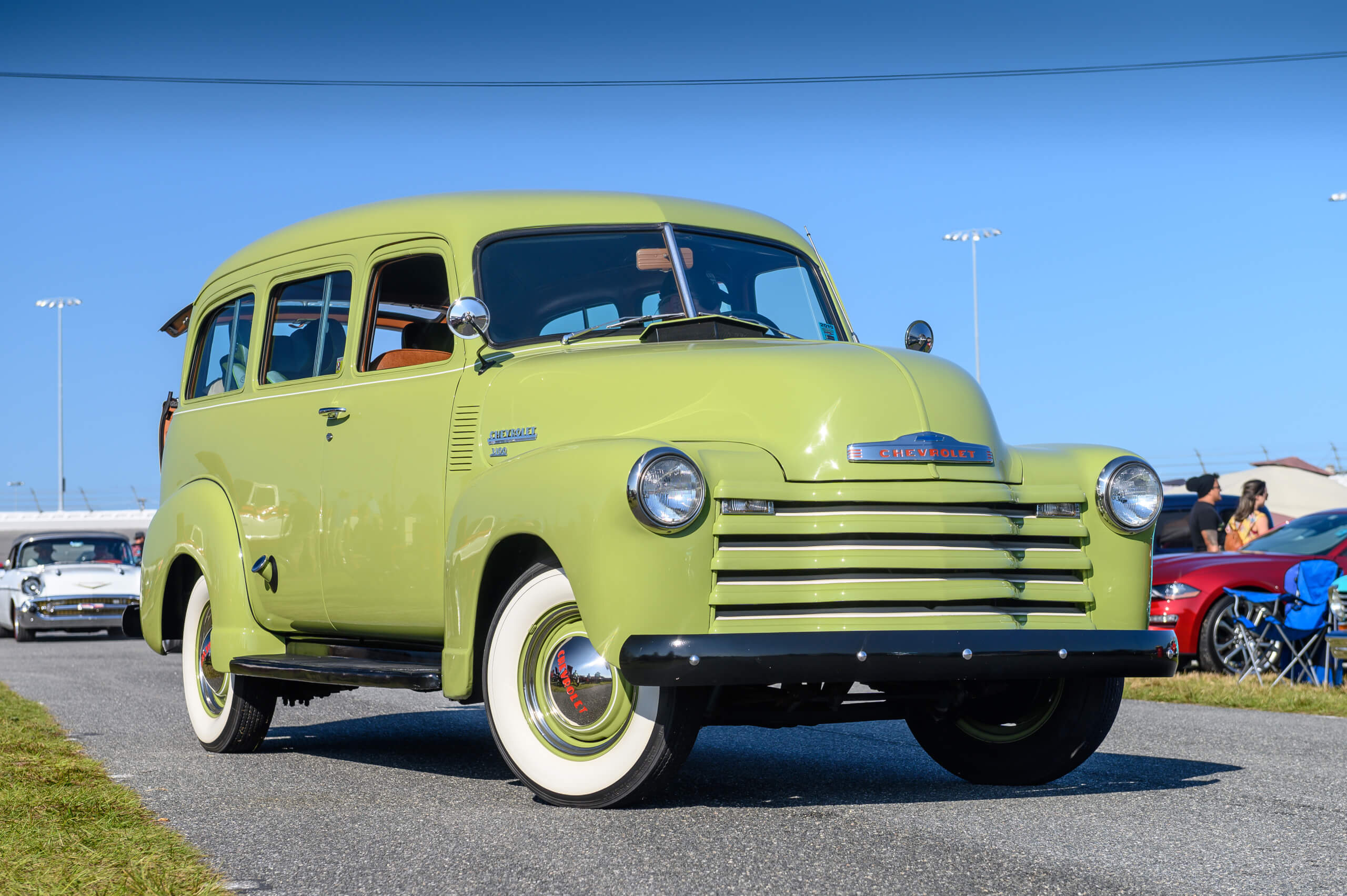 This 1949 Chevrolet Suburban Carryall was pulled from woods and fully restored.